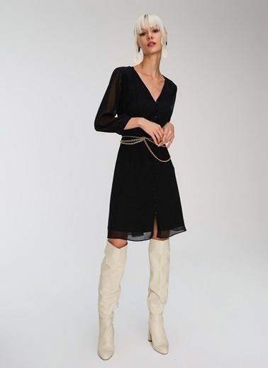 People By Fabrika Düğme Detaylı Şifon Elbise Siyah